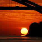 大三島橋に沈む夕陽。しかも「だるま夕陽」!を見れたよ!!